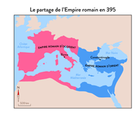 l'empire romain d'occident et l'empire d'orient en 395